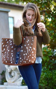 barrington st. anne axis deer print tote