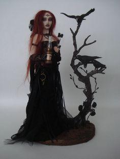 SHADOWSCULPT ooak fairy art doll goth lamp nightlight witch vampire fantasy polymer clay sculpture figure light up