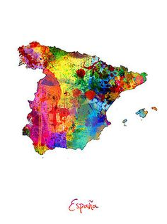 Trademark Art Spain Watercolor Map by Michael Tompsett Graphic Art on Wrapped Canvas Size: Map Canvas, Canvas Wall Art, Wall Art Prints, Poster Prints, Posters, Canvas Size, Map Of Spain, Watercolor Map, Map Art
