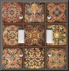 Light Switch Plate Cover - Tuscan Tile Mosaic Patchwork - Old World Decor