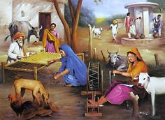 Indian Village Paintings Village Life of India Art Village, Village Scene Drawing, Indian Village, Village Quotes, Punjab Culture, Rajasthani Painting, Composition Painting, Village Photography, Art Photography