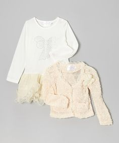 Ivory Tiered Dress & Ruffle Blazer - Toddler & Girls by Blossom Couture #zulily #zulilyfinds