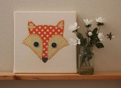 fox on canvas fabric | Fox Art on Canvas- Nursery art, Nursey decor, Kids Wall art, fox ...