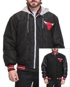 Chicago Bulls Wool Reversible /Pu Sleeve Jacket W/ Zip Out Hooded Fleece