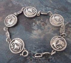 Scottish-Silver-Iona-Celtic-Viking-Ship-Bracelet-h-m-1954-Chester-Shipton-amp-Co