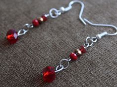 Red & Gold Crystal Drop/Dangle Small Cute Earrings Handmade  #Handmade #DropDangle