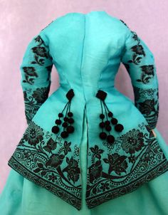 Antique Turquoise Silk Ensemble and Bonnet 16-18in French Fashion Doll