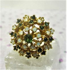 Vintage 1970s Vargas Rhinestone Statement Ring Green and Opalescent Rhinestones Size 7 by letsreminisce on Etsy