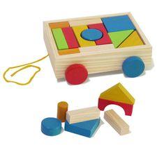 Este brinquedo estimula a criatividade, aprimora o conhecimento de formas, cores, coordenação motora e o raciocínio espacial. Possibilidades: puxar ou empurrar o carrinho, empilhar os blocos, formar figuras, distinguir cores, encaixar todas as peças dentro do carrinho. Carrinho em madeira sem farpas, medidas 20,5 x 17,5 x 5,0 cm colorido com tinta atóxica, composto por 12 blocos de várias formas e cores. Idade a partir de 3 anos.