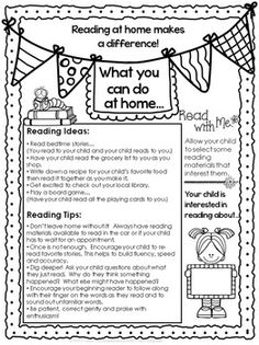 This one page flyer offers reading ideas and tips for how parents can incorporate reading into their child's daily routine at home. Letter To Parents, Parents As Teachers, Parent Letters, Back To School Ideas For Teachers, Parent Board, Info Board, Parent Teacher Conferences, Parent Involvement Ideas, Parent Teacher Conference Forms