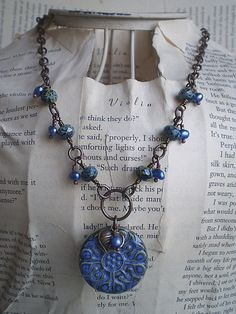 Summer Denim Ceramic Necklace