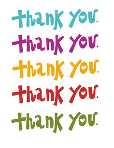 Thank You card 4 1/2 x 5 1/2 rainbow colors by NightlyDoodles. , via Etsy.