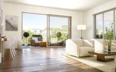 Das Neubauprojekt RIVE Berlin der Victoriahof Grundstücks- und Verwaltungs GmbH & Co. KG überzeugt durch seine lichtdurchfluteten Räume mit offener Wohnraumgestaltung.