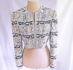 Vintage Deadstock Overall Sequin Bolero Jacket Cropped Beads Bridal Matador in Clothing, Shoes & Accessories, Vintage, Women's Vintage Clothing, Tops Beaded Jacket, Sequin Jacket, Embroidered Jacket, Vintage Tops, Vintage Designs, Vintage Ladies, Vintage Party Dresses, Vintage Outfits, Vintage Wardrobe