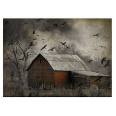 Old red barn. Crows and Ravens attack bird Invasion Original by gothicrow Country Barns, Old Barns, Country Life, Country Style, Ravens Sign, Crow Art, Covered Bridges, Before Us, Rustic Barn