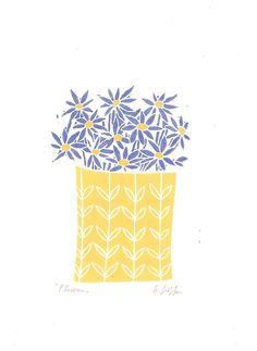 Flowers Vase  Linocut Art Print  Mothers Day Gift  Original