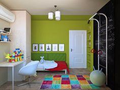 Детская комната получилась более уютной и камерной. С помощью окраски стен и потолка в разные цвета она делится на разные зоны - спальную (окрашенную в успокаивающий зеленый цвет) и учебно-игровую.