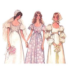 1970s Vintage Empire Wedding Dress Pattern by finickypatternshop, $13.25 Sheryl, was this our bridesmaid dress??