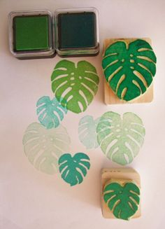 Monstera Deliciosa leaves Hand carved rubber stamp by StampDealer