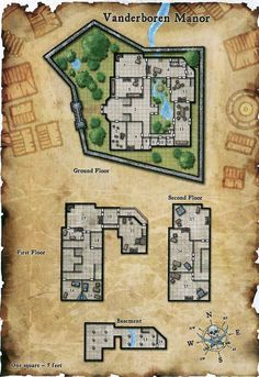 Vanderboren Manor House d&d Fantasy City, Fantasy Map, Pathfinder Maps, Building Map, Rpg Map, Map Layout, Dungeon Maps, Dungeon Tiles, Dungeons And Dragons Homebrew