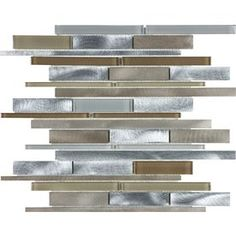 12-in x 15-in Aluminum Beige Mixed Material (Glass and Metal) Mosaic Wall Tile (Actuals 12-in x 15-1/4-in)