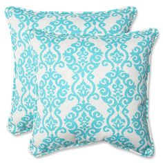 Green Outdoor Luminary Turquoise 18.5-inch Throw Pillow, Set of 2