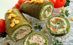 Шпинатный рулет со сливочным сыром и соленой семгой   Кулинарные рецепты от «Едим дома!»