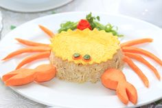 Rice, Food, Asian, Meal, Vegetarian, Yellow, Crab, Shaped, Serving, Photography