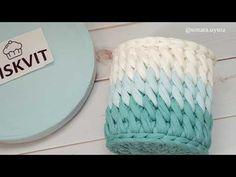 Красивый узор из трикотажной пряжи - YouTube Diy Crochet Basket, Crochet Bowl, Crochet Mat, Crochet Basket Pattern, Knit Basket, Crochet Motifs, Crochet Stitches, Crochet Patterns, Crochet Pencil Case