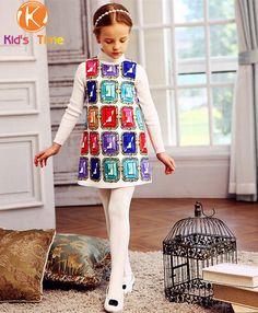 New 2015 Winter Girls Dress Vest Cotton Brand Fashion Diamond Print Kids Dresses Children Clothing For Baby Girl 4-12Y