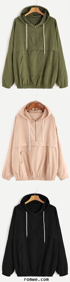 Drop Shoulder Zip Detail Pocket Drawstring Hoodie