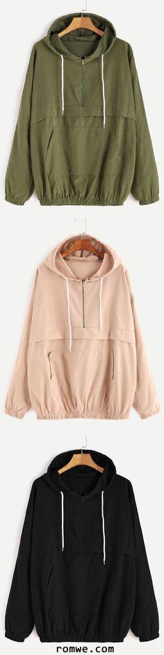 Drop Shoulder Zip Detail Pocket Drawstring Hoodie
