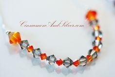 Orange and Gray Crystal Swarovski Necklace, Smokey Swarovski Crystal Necklace, Firey, Sterling Silver and Crystal Necklace by CinnamonandSilver on Etsy