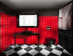 Dark black & red bathroom by Elad Gonen & Zeev Beech