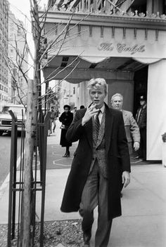 David Bowie 1983 outside of the Carlyle Hotel in New York.