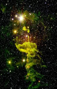 """Space Stars A nebula known as """"the Spider"""" glows fluorescent green in an infrared image from NASA's Spitzer Space Telescope Cosmos, Spitzer Space Telescope, Orion Nebula, Solar Nebula, Helix Nebula, Andromeda Galaxy, Space Images, Space Pics, Space And Astronomy"""
