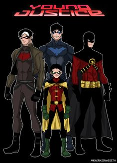 Young Justice Robins that they totally copied from the same Robin and Nightwing Young Justice Robin, Young Justice Season 3, Nightwing, Marvel Fanart, Marvel Dc Comics, Im Batman, Batman Robin, Superman, Robins