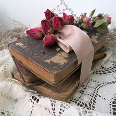 Antique book stack dried rose covered little by AnitaSperoDesign