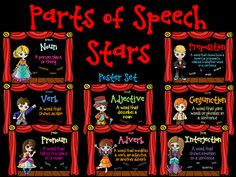 This FREEBIE poster set includes the following parts of speech superstars!  NOUN VERB PRONOUN ADJECTIVE ADVERB PREPOSITION CONJUNCTION INTERJECTION These posters match my 3-part bundled series.  http://www.teacherspayteachers.com/Product/Parts-of-Speech-Poster-Set-FREEBIE-1298114