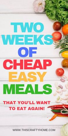 Cheap, quick and easy recipes for two weeks of meals! Great dinner ideas for families that take less than 30 minutes. Cheap, quick and easy recipes for two weeks of meals! Great dinner ideas for families that take less than 30 minutes. Quick Meals For Two, Cheap Easy Meals, Cheap Dinners, Healthy Meals For Two, Frugal Meals, Budget Meals, Meals For The Week, Easy Healthy Recipes, Easy Dinner Recipes