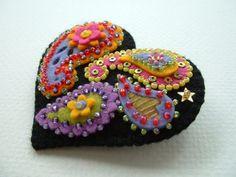 Felt Paisley Heart Pin by Beedeebabee on Etsy