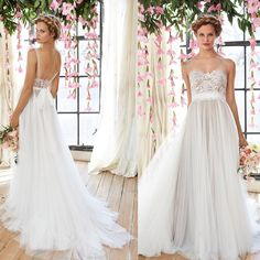Latest Wedding Gown Cheap Flowy Beach Wedding Dresses 2015 Sheer Illusion Neckline Lace Bodice Tulle Skirt Bridal Gowns Low Back Bohemia Bridal Dresses Vintage Mature Wedding Dresses From Seewedding, $115.92| Dhgate.Com