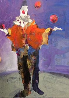 A California painter who creates bold, colorful works of still lifes, interiors and landscapes in watercolor, acrylic, and oil. Haunted Circus, Canvas Board, Painting Abstract, Painting Art, Aesthetic Art, Gouache, Art Sketches, Surrealism, Projects To Try