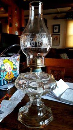 """Large 18"""" Vintage (EAGLE) Glass Pedestal LARGE Oil lamp/Lantern NEVER USED"""
