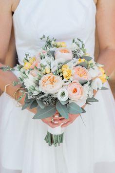 Peach David Austin Rose Wedding Bouquet | Alishia Love Photography