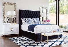 Black Gold Bedroom High Fashion Home is the premier destination for unique home furnishings, fashion, and gifts. Contemporary furniture for the eclectic, modern lifestyle. Blue Bedroom Decor, Room Ideas Bedroom, Blue And Gold Bedroom, Teen Bedroom, Navy Blue Bedrooms, White Bedroom, Bedroom 2018, Single Bedroom, Bedroom Colors