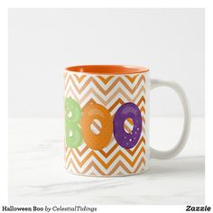 Shop Halloween Boo Two-Tone Coffee Mug created by CelestialTidings. Halloween Cups, Halloween Trick Or Treat, Halloween Boo, Halloween Treats, Happy Halloween, Create Your Own, Create Yourself, Orange Chevron, Halloween Invitations