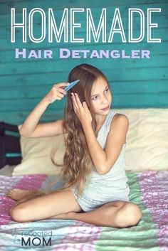 Homemade Hair Detangler 2/3 C. Distilled Water 1/3 – 2/3 C. Bragg's Apple Cider Vinegar (removes build up, improves shine) 2 tsp Olive Oil (or you can use Jojoba Oil) 1 dropper of Vitamin E Oil (you can find HERE or, at your local Sprouts – one bottle lasts a LONG time) 10 drops each Peppermint, Lavender, Rosemary and Orange Essential Oils