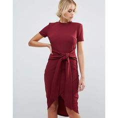 Club L Office Tie Waist Burgandy Short Sleeve Midi Dress ($15) ❤ liked on Polyvore featuring dresses, red, short sleeve midi dress, red midi dress, bodycon dress, red party dresses and midi dresses