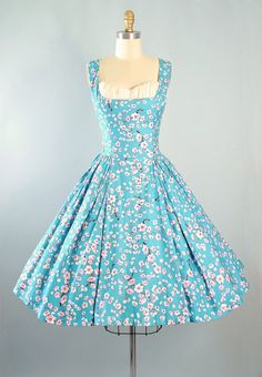 Vintage 50s Sundress / 1950s Dress CHERRY BLOSSOM Pink Floral Turquoise Blue…